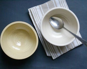 SECONDS SALE - Set of two large pottery soup bowls glazed in simply clay and pepper yellow