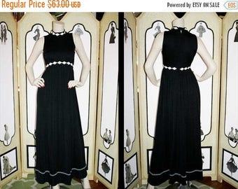 Summer Sale 20% Off 1960's Diamond Design Black and White Maxi Dress.