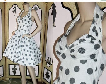 ON SALE Vintage 80's Black and White Cotton Damask Halter Dress. Small.