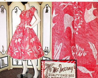 ON SALE Vintage 1950's Hawaiian Dress in Red and White Underwater Fish and Seaweed Print. McInerny Honolulu.