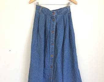 SUMMER SALE 90s Jean Skirt, Button Down Jean Skirt, Skirt with Pockets, High Rise Denim Skirt Buttons Midi Skirt, Extra Small, Small