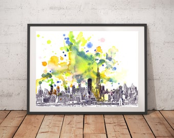 New York City Skyline Art Print From Original Watercolor New York Painting 18x24 Large Wall Art Print New York Painting Cityscape City Art