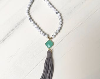 Beaded Tassel Necklace with White Howlite Beads, Green Clover Charm & Grey Suede Tassel