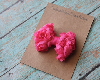 Hot Pink Chiffon Rosette Hair Bow
