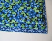 Blueberry Reversible Placemat set 4 or 6 Blue Placemats Blue Kitchen Table Decor Blueberry Table Decor Blue and Green Kitchen Summer Decor