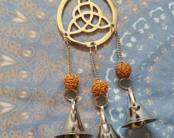 Windchime hanging bells Trinity Triquetra knot celtic charm wall window decoration - sun catcher healing feng shui fairtrade gift