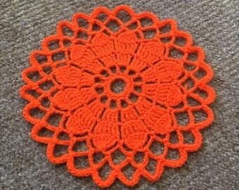 D-97. Halloween Crochet Placemat Crochet Doily Pumpkin Doily Crochet Orange Doily Hand crocheted Lace MANDALA Crochet Round Doily