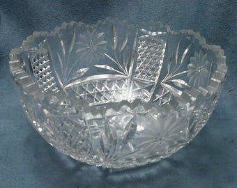 Vintage Cut Crystal Bowl Floral Sawtooth Edge