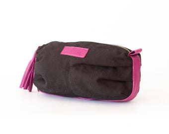 Cosmetic bag in black canvas and magenta leather, makeup case accessory bag zipper pouch  bag - Ariadne makeup bag