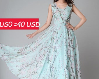 SALE, Chiffon dress ,maxi women dress ,long flower dress, maxi dress,made to measure,sky blue dress(1533)
