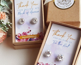 Thank you Bridesmaid, bridesmaid earrings, Rhinestone earrings,  wedding earrings, White Gold jewellery, bridal party gift, thank you gift