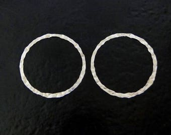 ONE Sterling Silver 27mm Hammered Flat Round Link, Connector Ring