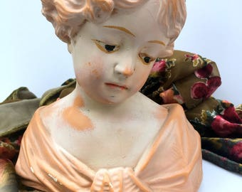 Vintage Antique French Plaster Pretty Little Girl Bust, Victorian Era, Art Nouveau, 1900 Sculpture, Art Collectible, Home Decor, Heirloom