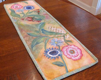 """floral table runner mixed media collage quilt art, 43 1/2""""x 14 1/2"""""""