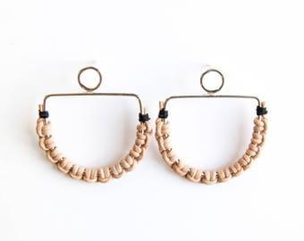 Hope leather earrings - sterling silver leather stud earrings