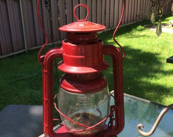 Antique 1920s Railroad Rustic Barn Lantern Red Dietz No 2 D Lite Farm House Decor Industrial