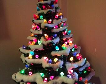 vintage 1970s ceramic 20 inch large light up multi color bulbs birds holiday heavy snow glaze - Christmas Tree Bulbs