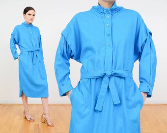 80s Dress | Blue Dress | Raw Silk Dress | Dolman Sleeve Midi Dress | Collared Shirt Dress | 1980s Clothing | Belted Shift Dress | Medium M