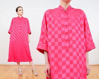 Catherine Ogust 80s Pink Dress | Silky Satin Checkered Shift Dress | Dashiki Tunic Dress | Midi Tent Dress | Magenta Caftan Dress | size M