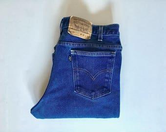 "Vintage Men's 70's Levi's 517, Black Tab, Jeans, Dark Wash, Denim (W34"" x L32"")"
