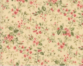Small vine on Ivory.. Roses Chocolate II by Moda Fabrics 33275-11