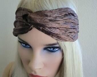 Metallic dark brown turban-Adult turban headband in chocolate brown-Many colors to choose from