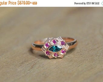 SALE Rose Gold Ring, Color Change Garnet Ring, Petal Ring, Ruby Ring, Marquis Ring, Ring with Ruby and Garnet, 14 Kt Rose Gold Ring