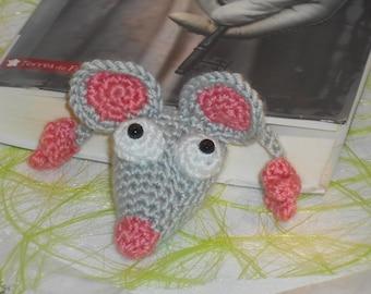 Marque pages rat gris clair de bibliothèque au crochet déco souris amigurumi