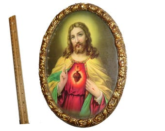 Antique Sacred Heart of Jesus Framed Print. Gilt Wood Frame. Beautiful Vintage Religious Catholic Jesus Christ Image.