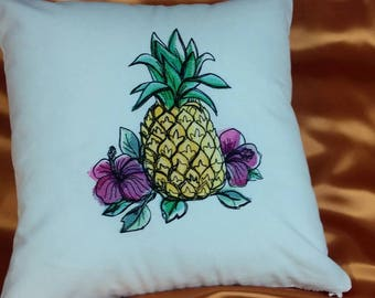 Pineapple and flowers Embroidered  pillow