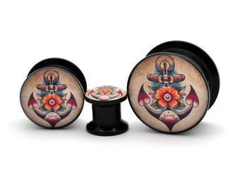Black Acrylic Traditional Anchor Picture Plugs gauges - 8g, 6g, 4g, 2g, 0g, 00g, 7/16, 1/2, 9/16, 5/8, 3/4, 7/8, 1 inch
