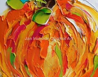 Fall Decor, Orange Pumpkin, Original Oil Painting, Impasto Oil Painting, Thanksgiving