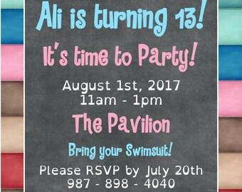 "Color Block Party 5""x5"" Custom Party Invitation Digital Printable"