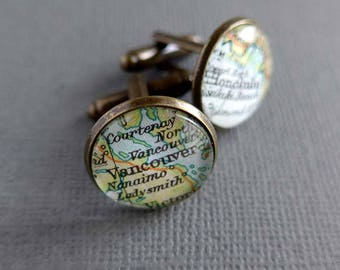 Personalised Map Cufflinks for Katherine - Graianrhyd and Grassington