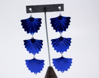 Royal Blue Sequin Flair Three Tier Dangle Hook Earrings