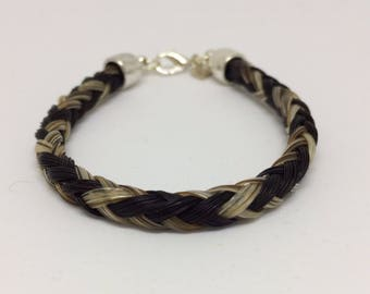 Black/Gray Horse Hair Braided Horsehair Bracelet - 6MM Round Braid