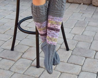 Below the knee socks variegated colors womens socks hand knit leg warmers handmade long socks winter socks knee high socks gift for her