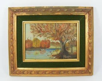 """Fall Autumn Lake Oil Painting 5"""" x 7"""" Ornate Wooden Frame Green Velvet Mat Vintage Double Wood Frame"""