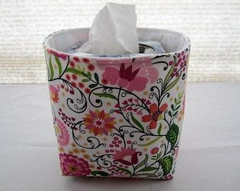 Mini Baskets Fabric Storage Organizer Bins - Springs Flowers Floral  - Tissue Holder -