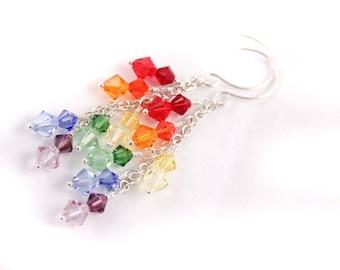 Rainbow Cascade Earrings, Swarovski and Sterling Silver, Chakra, Pride