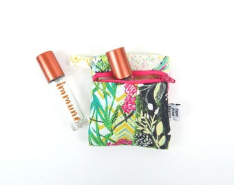 Mini Essential Oil Zippered Pouch - Collage Poise Glam - roller bottle case travel case essential oil storage IEM case earbud READY TO ship