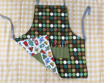 child's arts and crafts apron, youth craft apron with pockets, kids reversible art apron, boys art and craft apron, robots and dots apron