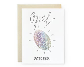 Opal/October - letterpress card