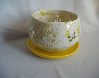 Ceramic Small Wendy Orchid Pot/Planter With Butterflies