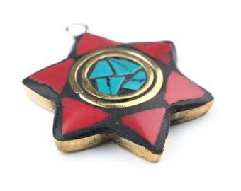 Red & Green Nepal Star of David Pendant: Nepal Judaica Ethnic Judaica Handmade Judaica Brass Pendant Unique Finding (PND-NPL-116)