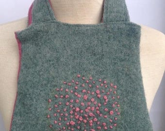 SALE Handmade pink and green felted wool purse with embroidery french knot detail. Fully lined with floral fabric. Upcycled.