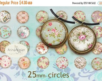 SALE - 30%OFF - Shabby Chic Flower Collection Digital Circle 25 mm - digital earring circle, 1 inch circle, Digital Collage Sheet , 25 mm ea