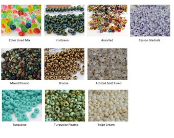Magatama TOHO Glass Seed Beads 10-Grams Ur PICK Picasso Terra Assorted Gladiola Frosted Gold Lined Bronze Iris Green Turquoise Beige