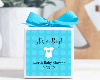 12 Custom Baby Shower Favor Boxes - Personalized Boxes - Shower Favors - Boy Shower - Treat Boxes - White Boxes - 3x3 Boxes - Baby Boy