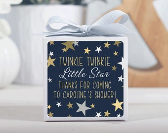 12 Custom Baby Shower Favor Boxes - Personalized Boxes - Shower Favors - Twinkle Little Star - Treat Boxes - White Boxes - 3x3 Boxes
